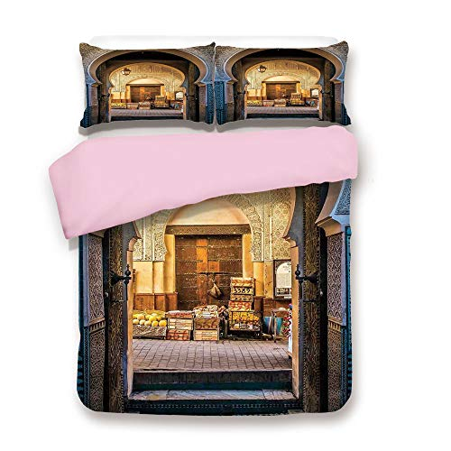Medina Lamp - Pink Duvet Cover Set,Queen Size,Typical Moroccan Door to Old Medina Mediterranean Historical Arch Entrance Photo,Decorative 3 Piece Bedding Set with 2 Pillow Sham,Best Gift For Girls Women,Blue Beige