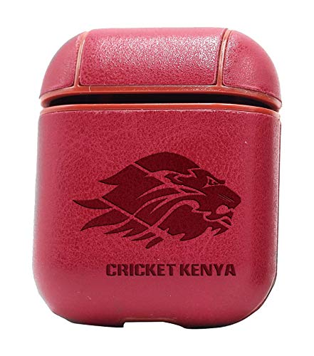 Cricket Kenya Logo (Vintage Pink) Engraved Air Pods Protective Leather Case Cover - a New Class of Luxury to Your AirPods - Premium PU Leather and Handmade exquisitely by Master Craftsmen ()
