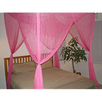 OctoRose  4 Poster Bed Canopy Netting Functional Mosquito Net Full Queen  King (Hot Pink