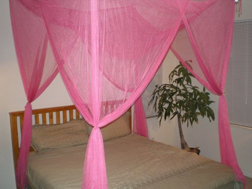 OctoRose ® 4 Poster Bed Canopy Netting Functional Mosquito Net Full Queen King (Hot Pink) (Hot Pink Bed Canopy compare prices)