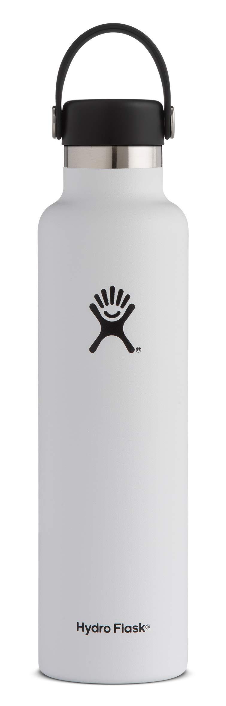 Hydro Flask FBA_S24SX110 Mouth 24 oz. Standard Water Bottle 710 ml, White