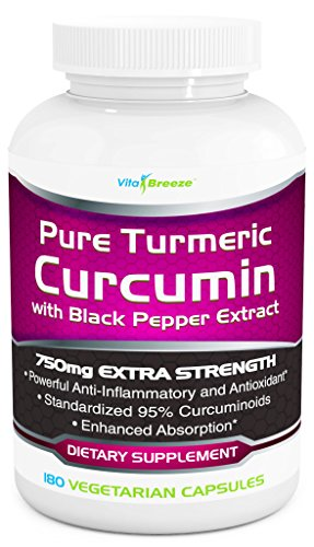 51bkFTqKvXL - Turmeric Curcumin Complex with Black Pepper Extract - 750mg per Capsule, 180 Veg. Caps - Contains Piperine (For Superior Absorption and Tumeric Bio-availability) and 95% Standardized Curcuminoids