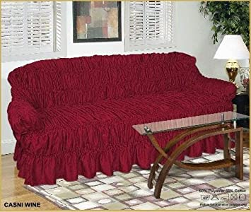 2 Seater RED WINE Jacquard Sofa Cover   Universal Elastic Fitting (better  Than A Throw