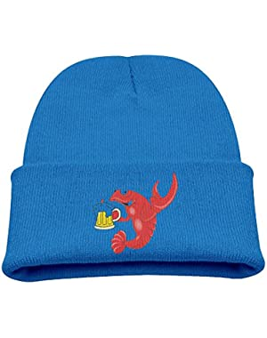 Crawfish Beer Kid's Hats Winter Funny Soft Knit Beanie Cap, Unisex
