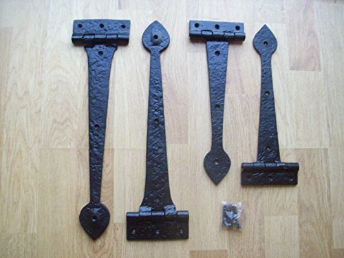 IRONMONGER WORLD? 3 SIZES BLACK ANTIQUE WROUGHT IRON HEAVY DUTY DOOR GATE T-HINGE TEE HINGES (18 /450MM) by Ironmongery World by Ironmongery World