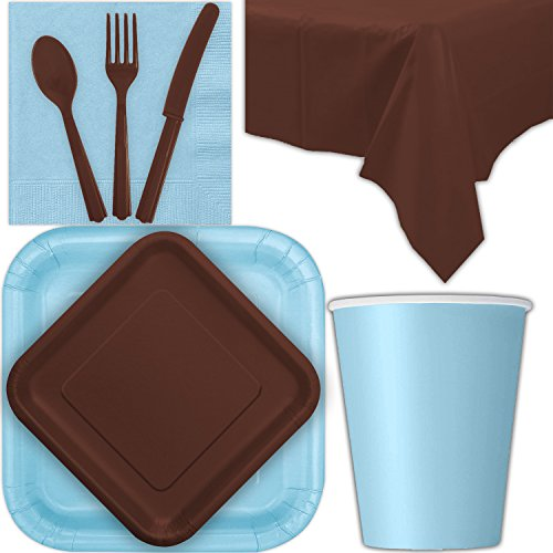 Disposable Party Supplies for 28 Guests - Powder Blue and Brown - Square Dinner Plates, Square Dessert Plates, Cups, Lunch Napkins, Cutlery, and Tablecloths: Premium Quality Tableware Set