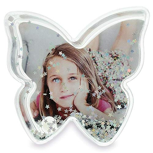 BestPysanky Butterfly Shaped Glitter Globe Picture Frame 3.5 Inches (Photo Butterfly Frame Shaped)