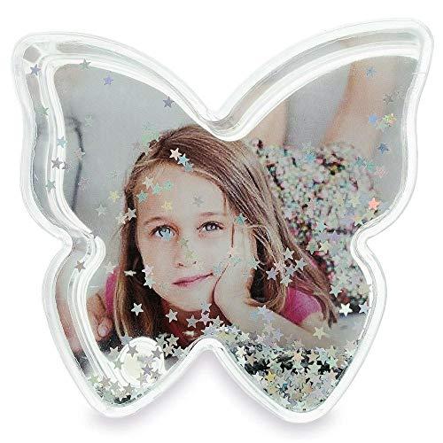 Butterfly Plastic Glitter - BestPysanky Butterfly Shaped Glitter Globe Picture Frame 3.5 Inches