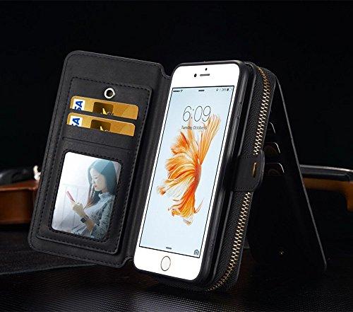 iPhone 7Plus/8Plus Women's Case,iPhone 7 Plus/8 Plus Wallet Case,Zipper Detachable Magnetic12 Card Slots Card Slots Money Pocket Clutch Cover Zipper Wallet Purse Case iPhone 7 Plus/8 Plus (Black) by TOPWOOZU (Image #3)