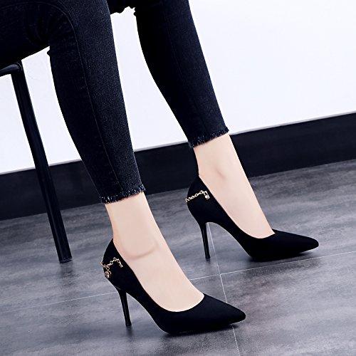 De Mujer Verano Negro Con Otoño Solo De Tacón Alto Femeninos Negra Zapatos Fina Zapatos De GAOLIM Punta Y De Zapatos Taladro CPnRxfqHv