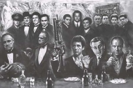 Gangsters Collage - Movie Gods Giant Art Poster Print - Drawing - Godfather, Scarface,