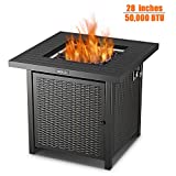 TACKLIFE Gas Fire Pit, 50,000 BTU Auto-Ignition Outdoor Propane Gas Fire Pit Table with Cover, CSA Certification Approval and Strong Striped Steel Tabletop