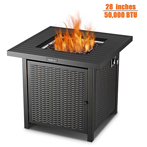 (TACKLIFE Fire Table, 28 inch 50,000 BTU Auto-Ignition Outdoor Propane Gas Fire Pit Table with Cover, CSA Certification Approval and Strong Striped Steel Tabletop (Square Black))