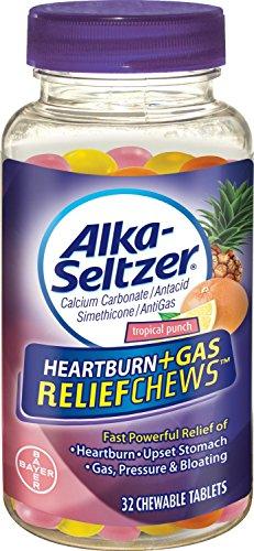 (Pack de 2) Alka-Seltzer brûlures d'estomac + gaz secours mâche, 32 Tropical Punch comprimés chacune