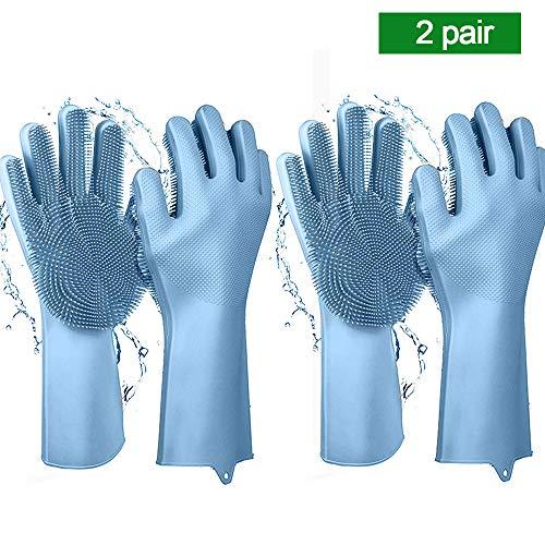 Magic Saksak Reusable Silicone Cleaning Gloves Dishwashing Scrubber, Dish Wash Scrubbing Sponge Gloves with Bristles, Great for Washing Dish, Kitchen, Car, Bathroom, Pet Hair Care-2 Pairs