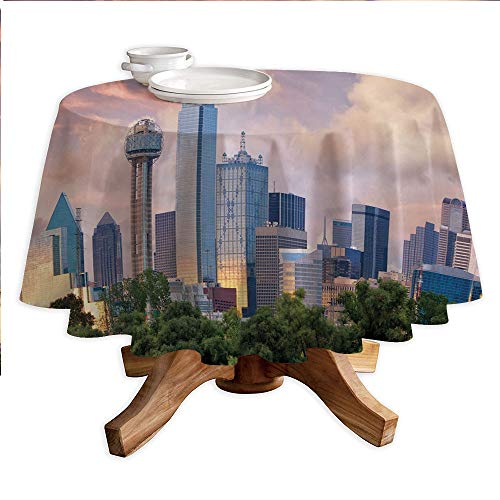 United States Round Polyester Tablecloth,Dallas City Skyline at Sunset Clouds Texas Highrise Skyscrapers Landmark Decorative,Dining Room Kitchen Round Table Cover,55