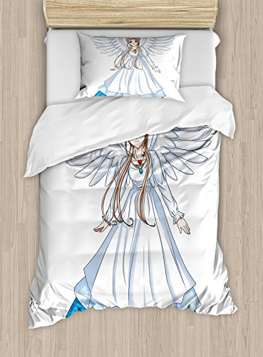 (Ambesonne Anime Duvet Cover Set, Cartoon Illustration of Angel Wings and Flowers Fairytale Japanese Manga Print, Decorative 2 Piece Bedding Set with 1 Pillow Sham, Twin Size, Blue White)