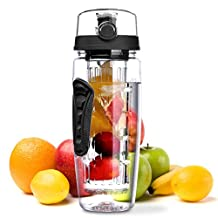 OMorc Sport Water Bottle,32OZ/900ML Fruit Infuser Water Bottle Portable Environmental Clear Sport Bottle with Cleaning Brush, Toxin-Free, Shatter-Resistant- Blue