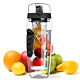 OMorc 32oz/900ml Sport Fruit Infuser Water Bottle, Toxin-Free, Shatter-Resistant and Impact-Resistant with Cleaning Brush, Ideal for Your Office and Home (Black)