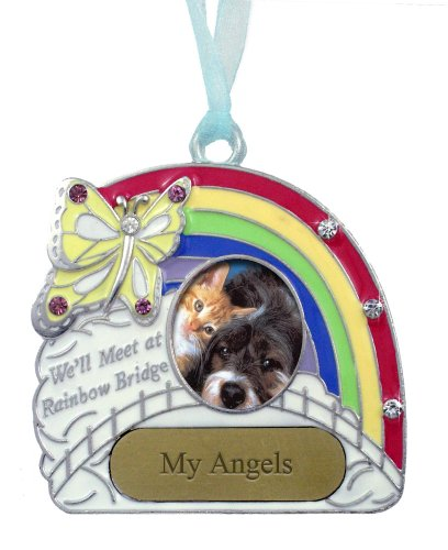 Pet Remembrance Rainbow Bridge Engravable Photo Ornament by Banberry Designs