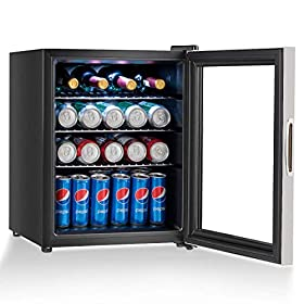 COSTWAY Beverage Refrigerator and Cooler, 120 Can Mini Fridge with Glass Door, Yellow Light, for Soda Beer or Wine Small Drink Dispenser Machine for Office or Bar