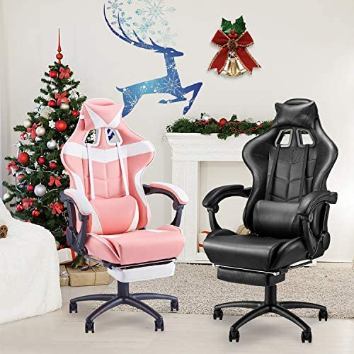 Soontrans Massage Plus Gaming Chair,Ergonomic Executive Swivel Rolling Chair, Large Size Computer Chair,High Back Video Gaming Chair with Footrest,Headrest and Lumbar Pillow Support(Galaxy Black)