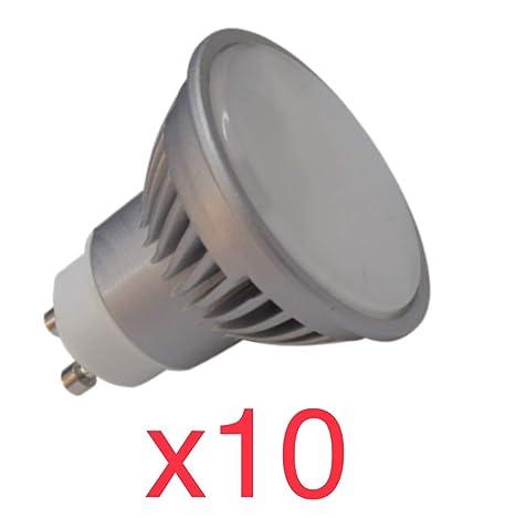 Led Atomant Pack 10x GU10 7W Halogeno LED 680 lumenes Reales Color Blanco cálido 3000K.