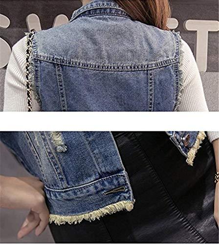Donna Blu Smanicato Jacket Outerwear Strappato Fashion Style Festa Autunno Eleganti Corto Ragazze Cappotto Fit Primaverile Vintage Cavo Slim Jeans Gilet Bavero R5nqgg