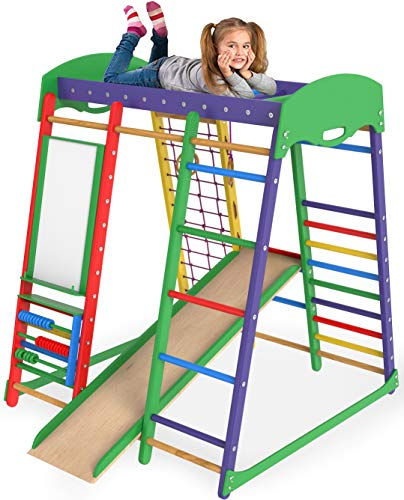 Jungle Gym Indoor Playground - Slide for Kids Playset - Kid Jungle Gym Toddler Climber - Climbing Frame Eezy Peezy Monkey Bars - Dome Gyms with Swedish Ladder - Climbers Toddlers Toys - Akvarelka