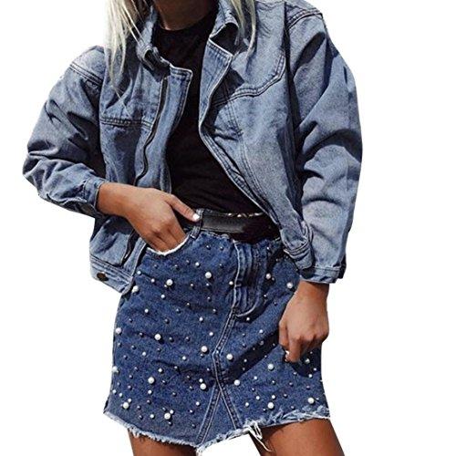 LuckyGirls Femmes Perles Mini Denim Jupe Mode Irrgulire Haute Taille Court Bleu Bleu