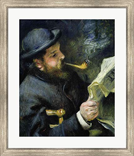 (Claude Monet Reading a Newspaper by Pierre-Auguste Renoir Framed Art Print Wall Picture, Silver Scoop Frame, 29 x 34 inches)