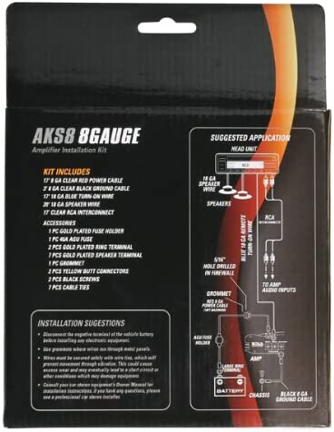 Sound Storm Labs AKS8 8 Gauge Amplifier Installation Wiring Kit