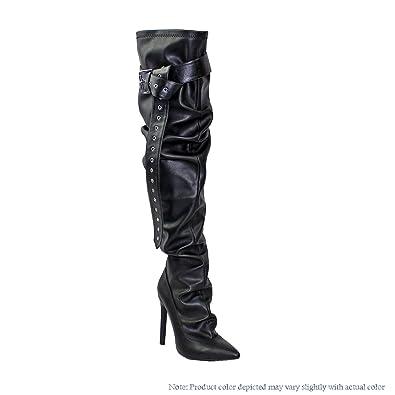 68bf4980c2c Liliana Thigh High Sloutchy Boots w Belt Design Merci-1 (Black 6)