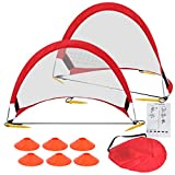 Cheap HomGarden Foldable Pop Up Soccer Goals, Set of 2 Portable Kids Toddler Soccer Nets for Backyard w/Cones & Carry Bag, Outdoor Pop-up Pick Up Game Goals (2.5′ Round)