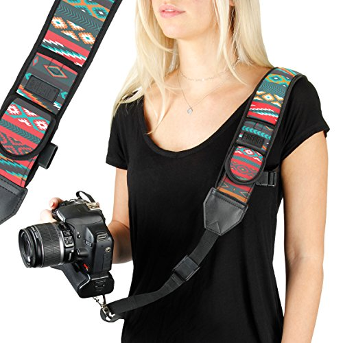 Double Duty Slings - USA Gear Camera Sling Shoulder Strap with Adjustable Southwest Neoprene, Safety Tether, Accessory Pocket, Quick Release Buckle, Compatible with Canon, Nikon and More DSLR, Mirrorless Cameras