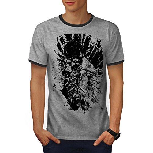 wellcoda Rock Skull Raven Mens Ringer T-Shirt, Horror Graphic Print TeeHeather Grey/Heather Dark Grey M