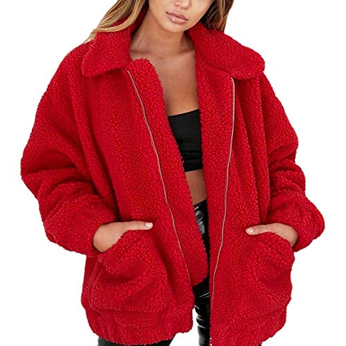 (Redberrey Women's Winter Tops Lambskin Solid Color Plus Velvet Thick Coat)