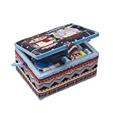 Sewing Basket Organizer - Includes Sewing Kit Accessories/Insert Tray/Handle/ Built-in Pin Cushion & Interior Pocket/Legs - Owl Pattern - Large 12.2 x 9.2 x 6.7 inches - by D&D Design