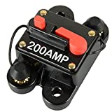 MWGears DC 12-24V 200A In-Line 4, 6 & 8 Gauge Circuit Breaker Fuse for Auto Car Stereo/Audio Protection (200 AMP)