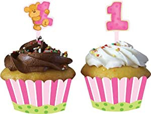 12-Count Cupcake Wrappers with Picks, Bears First Birthday, Pink