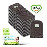 Naturally Natures Cloth Diaper Inserts 5 Layer - insert - Charcoal Bamboo Reusable Liners with Gussets (Pack of 12) INCLUDES 100 DISPOSABLE LINERS