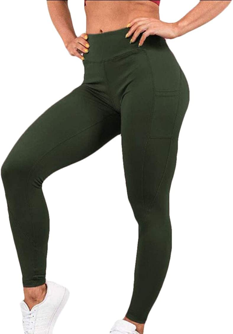 Keaac Womens High Waisted Yoga Short Fitness Sport with Pockets Athletic Sports Leggings Hot Pants