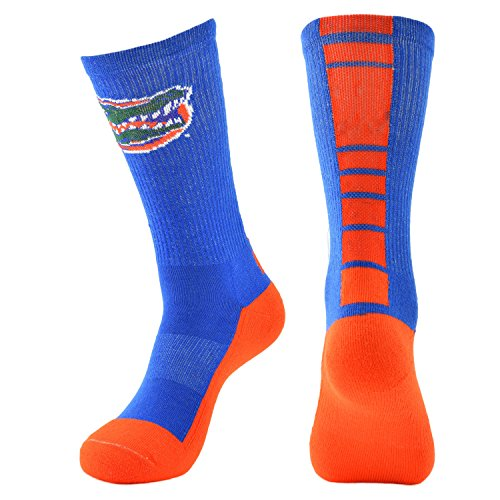 College Edition NCAA (Team) Men's Made in The USA Polytek Champ Performance Crew Socks with Wicking Material and Extra Cushion,Royal/Orange,Mens Large 10-13 - Florida Gators College Football