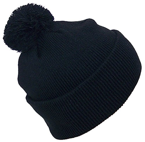 Best Winter Hats Quality Solid Color Cuffed Hat W/Large Pom Pom (One Size)(Fits Large Heads) - Black (Cuffed Hat Ski Beanie)