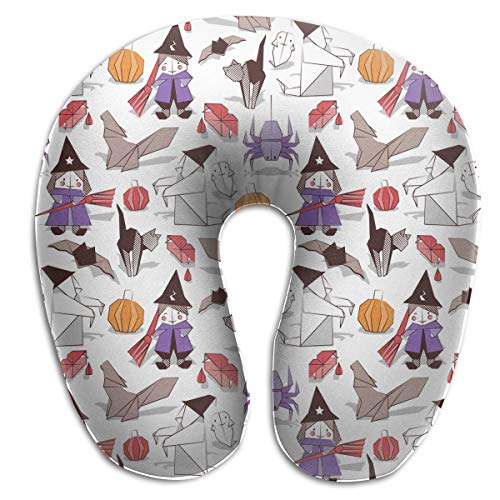 Juewu-474 Comfortable Memory Foam Travel Pillow, Halloween Witches Ghosts Pumpkins Spider U Shape Pillow for Plane Train Car Bus Office, 360° Stable Neck -