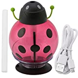 Zjzhao Ladybug Aromatherapy Mini Beatles Cool Mist Humidifier Aroma Oil Diffuser USB Portable Air Diffuser Purifier Atomizer with LED Light Automatic Rotation Car Home Baby (Red)