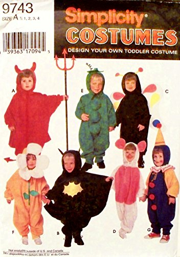 (OOP Simplicity Costume Pattern 9743. Toddler Szs 1/2, 1,2,3,4 Bat Boy; Flower; Sweet Pea; Butterfly; Devil; Clown & Pig)