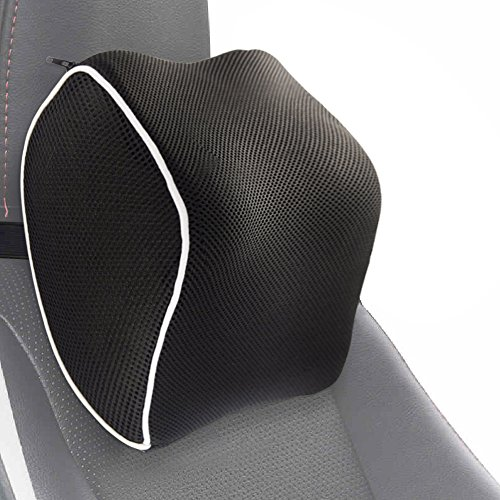 PROMIC Car Neck Pillow Memory Foam Headrest Pillow for Driving Car Seat - with Adjustable Elastic Straps & Washable Cover - Relieve Neck Pain and Muscle Tension