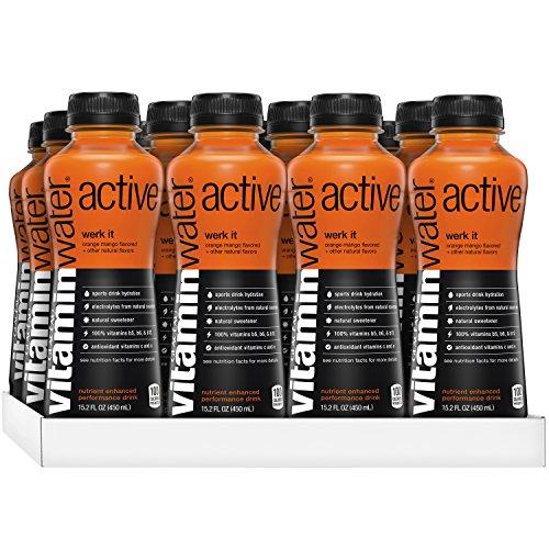 vitaminwater active Werk It, Orange Mango Flavored Sports Drink, 15.2 Fluid Ounce (Pack of 12)