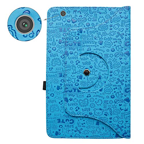 Barnes & Noble Nook Tablet 10 Rotating Case,Bige 360 Degree Rotary Stand with Cute Pattern Cover for Barnes & Noble Nook Tablet 10 (BNTV650) 10.1-inch Tablet,Blue